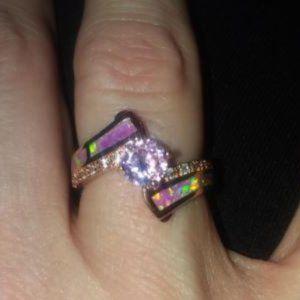 18k GP Pink Fire Opal Pink Topaz CZ  Size 8
